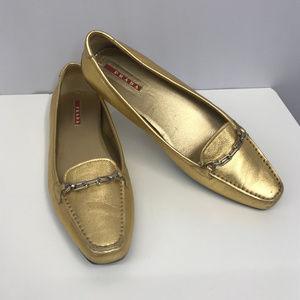 PRADA Gold Metallic Loafers w Chain Links SZ 36.5